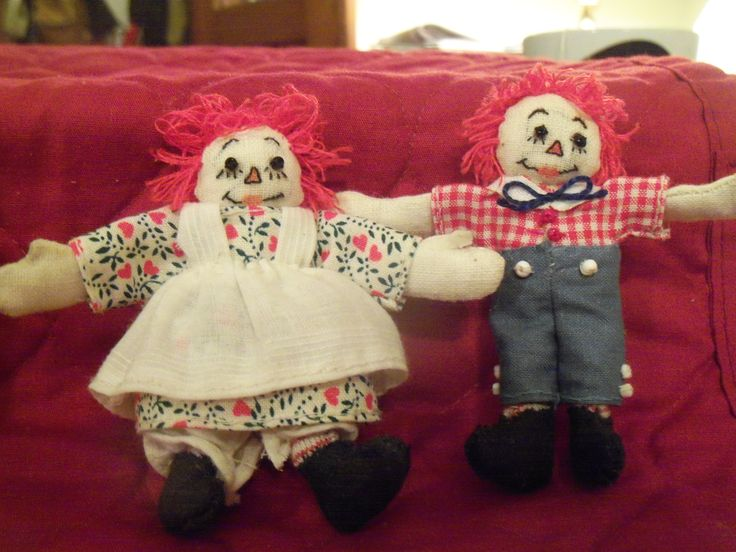 """My hand stitched raggedy Anne and Andy dolls, only 3 1/2"""" tall."""