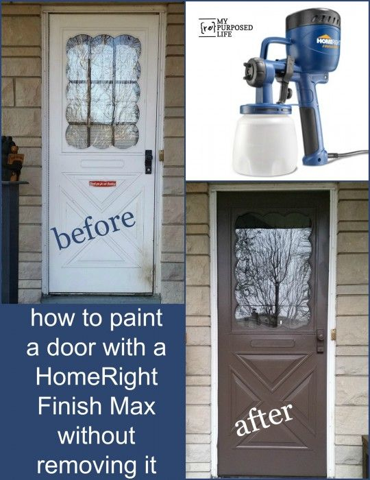 How to paint a door in place with a HomeRight Finish Max paint sprayer and QuickMask (love the idea of not removing the door!) #DIY