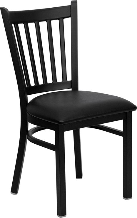 HERCULES Black Vertical Back Metal Restaurant Chair with Black Vinyl Seat