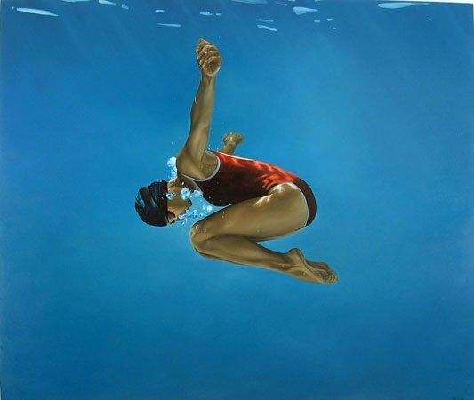 Eric Zener is one of my favorite painters.  His paintings of underwater subject matter are incredibly realistic.  They always have a unique vantage point and his use of color and and light rendering is phenomenal.   Each piece evoke emotion and depth.