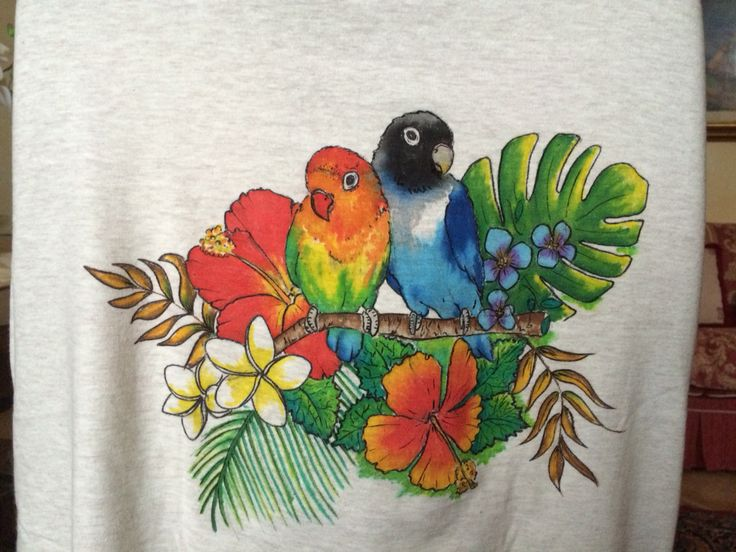 Parrots and flowers tshirt paint