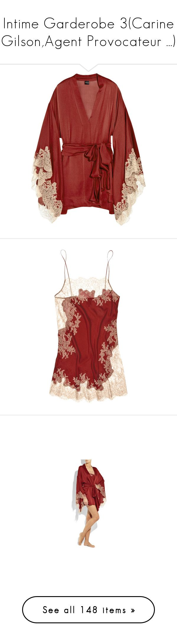 """""""Intime Garderobe 3(Carine Gilson,Agent Provocateur ...)"""" by olivia-richter ❤ liked on Polyvore featuring intimates, robes, lingerie, tops, underwear, dresses, women, dressing gown, kimono robe and silk satin robe"""