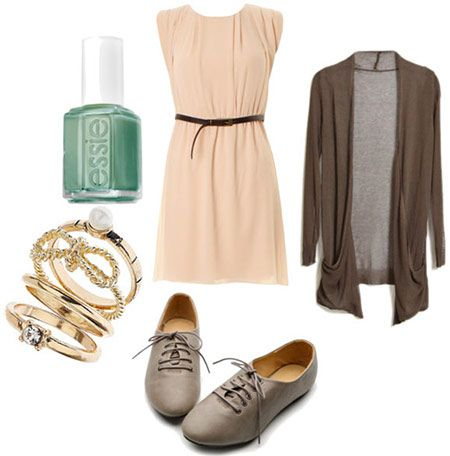 Back to School outfit 4: Orientation - beige dress, oxfords, bangle bracelets, knit cardigan, nail polish... This website has 5 outfits for the first week of college all under $100