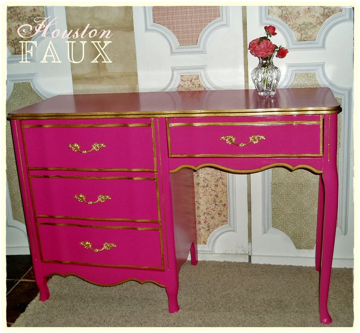 "AVAILABLE -- Victoria's Secret Inspired French Provincial PINK Desk / Vanity - ""The STEPHANIE"". $395.00, via Etsy."