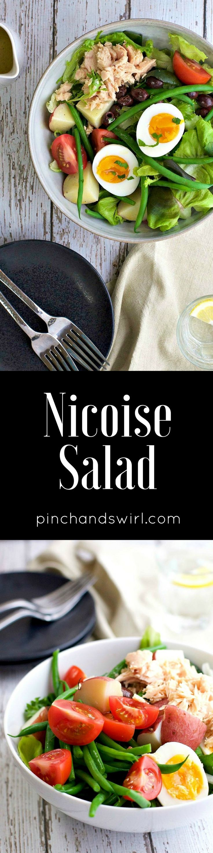 Nicoise salad is so easy to make and you can switch up the ingredients for what's in season. Tuna Nicoise salad is my absolute favorite. It's amazing that a can of good tuna, ripe tomatoes, tender green beans, perfectly cooked eggs and potatoes, briny olives and a simple mustardy dressing can make one of the most flavorful and satisfying meals there is!