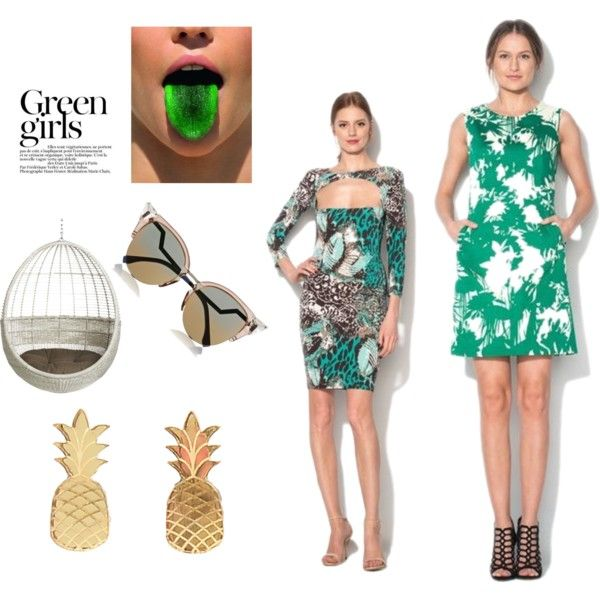 Green girls by ioanacarmen on Polyvore featuring Vinca, Fendi, CB2 and Green Girls