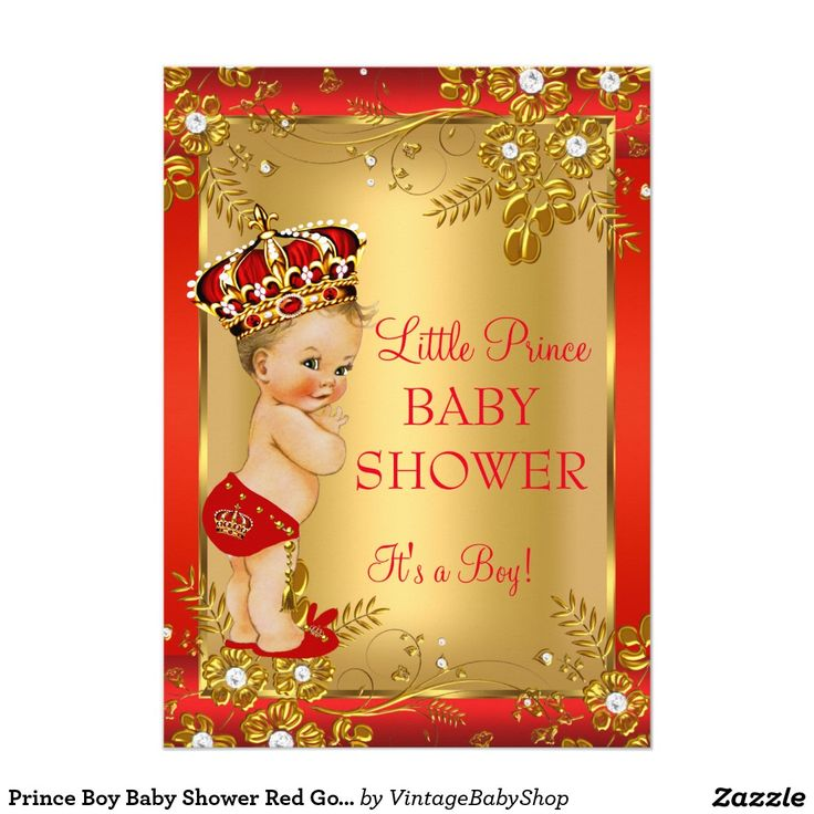 29 best Red Gold Prince Baby Shower Boy Invitations images on ...