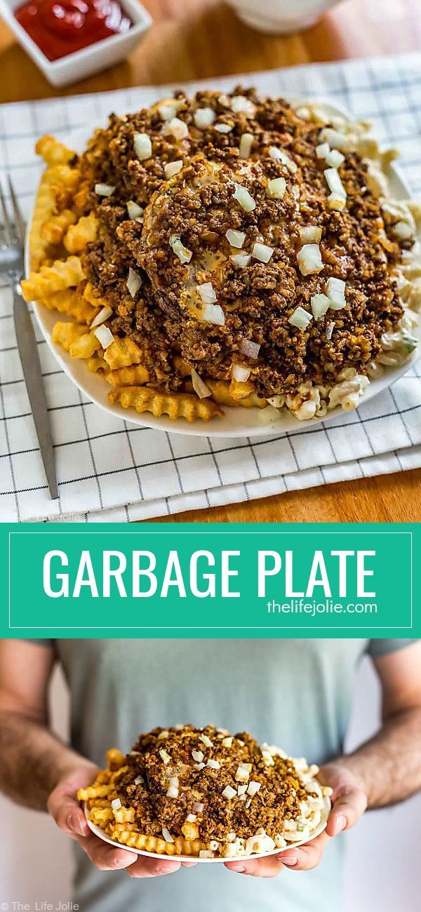 This Garbage Plate recipe is a homemade version of the Garbage Plate that you'll find in Rochester, NY. Complete with meat hot sauce, fries, mac salad and cheeseburgers or hot dogs this is as easy, classic dish that's perfect for Father's Day!