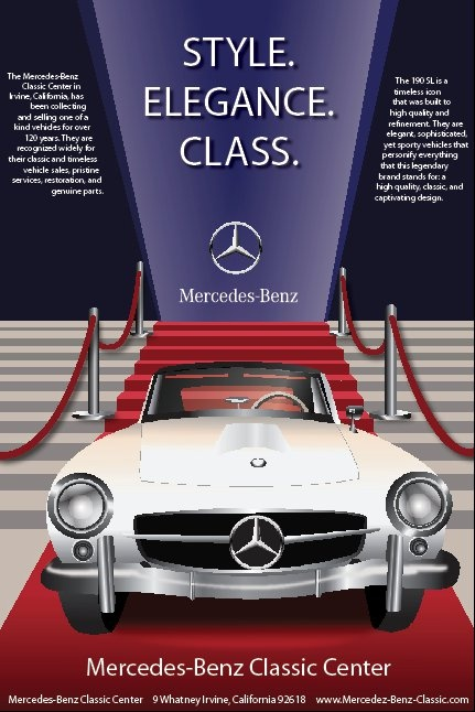 Mercedes 190 Sl >> Intro to Graphic Design Assignment- Create a poster for the Mercedes-Benz Classic Center | My ...