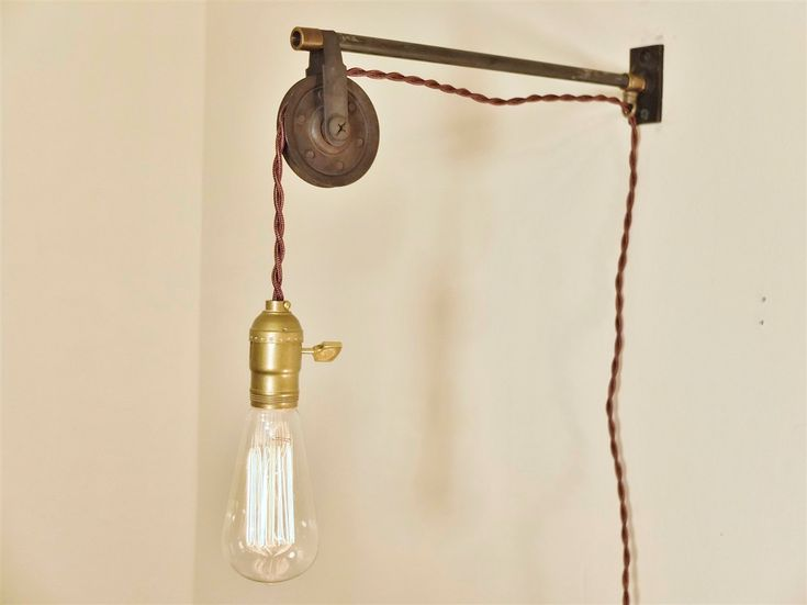 Wall Hanging Lights : Vintage Industrial Pulley Lamp - Wall Mount Pendant Light - Steampunk Light - Industrial ...