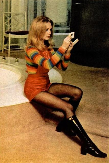Elaine Taylor, wife of actor Christopher Plummer, wearing an outfit from Mr Freedom.  Photograph by Enrico Sarsini, January, 1971. Image scanned by Sweet Jane.