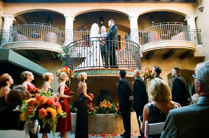 A beautiful courtyard ceremony for a California Dream wedding at Hotel Los Gatos #California #wedding #ceremony