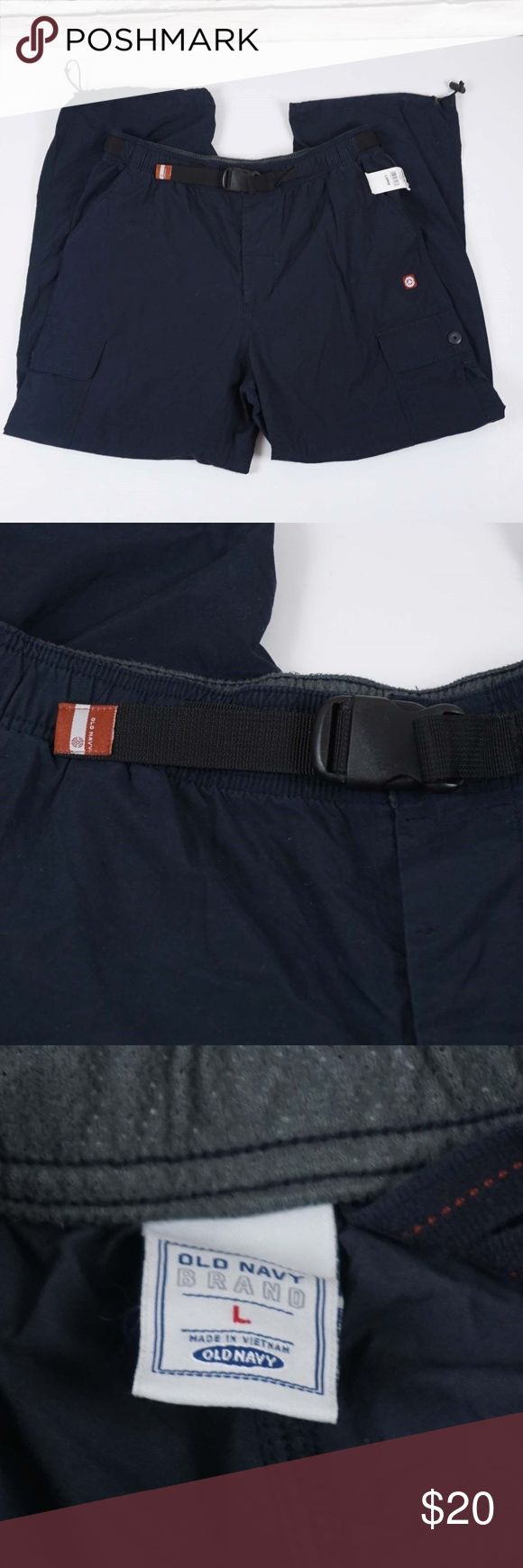 OLD Navy Cargo Pants Belted Blue Size Large New with tags Polyurathane  Not sure it will fit? Take flat measurements of a similar item that fits and compare with the measurements below.  Measurements (flat in inches)  Size: L Across the waist: 17-18 Rise: 13 Inseam: 30 Old Navy Pants Cargo