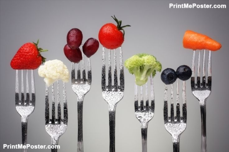Fruit and vegetable of silver forks against a grey background concept for healthy eating, dieting an poster #poster, #printmeposter, #mousepad, #tshirt
