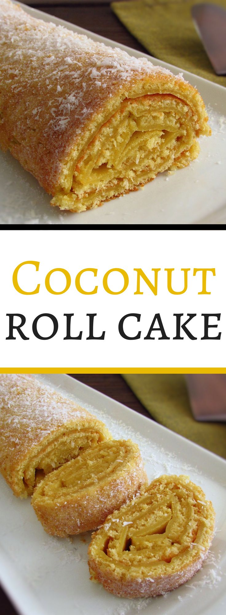 Coconut roll cake | Food From Portugal. Love the coconut taste and want a different cake? Try this coconut roll cake recipe, have excellent presentation and is very tasty. #coconut #cake #recipe