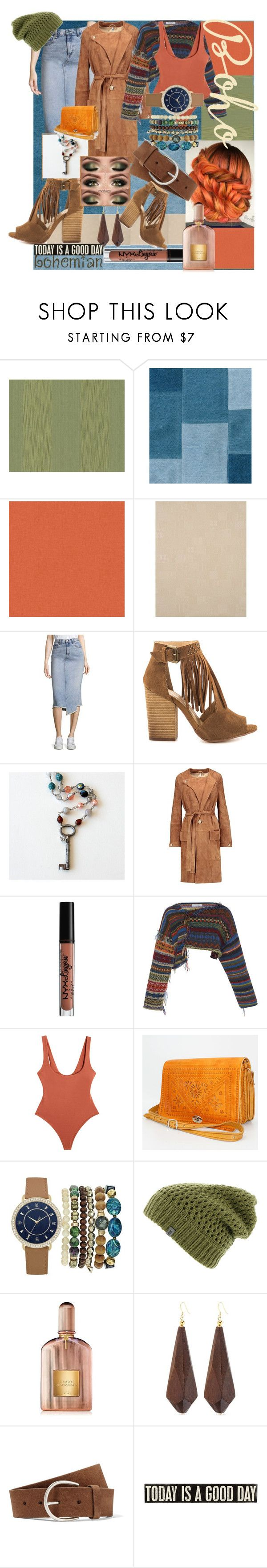 """""""Boho Kinda Girl"""" by milady-metal ❤ liked on Polyvore featuring BD Fine Wallcoverings, York Wallcoverings, rag & bone/JEAN, Chinese Laundry, Helmut Lang, NYX, Samantha Pleet, A.X.N.Y., The North Face and Tom Ford"""