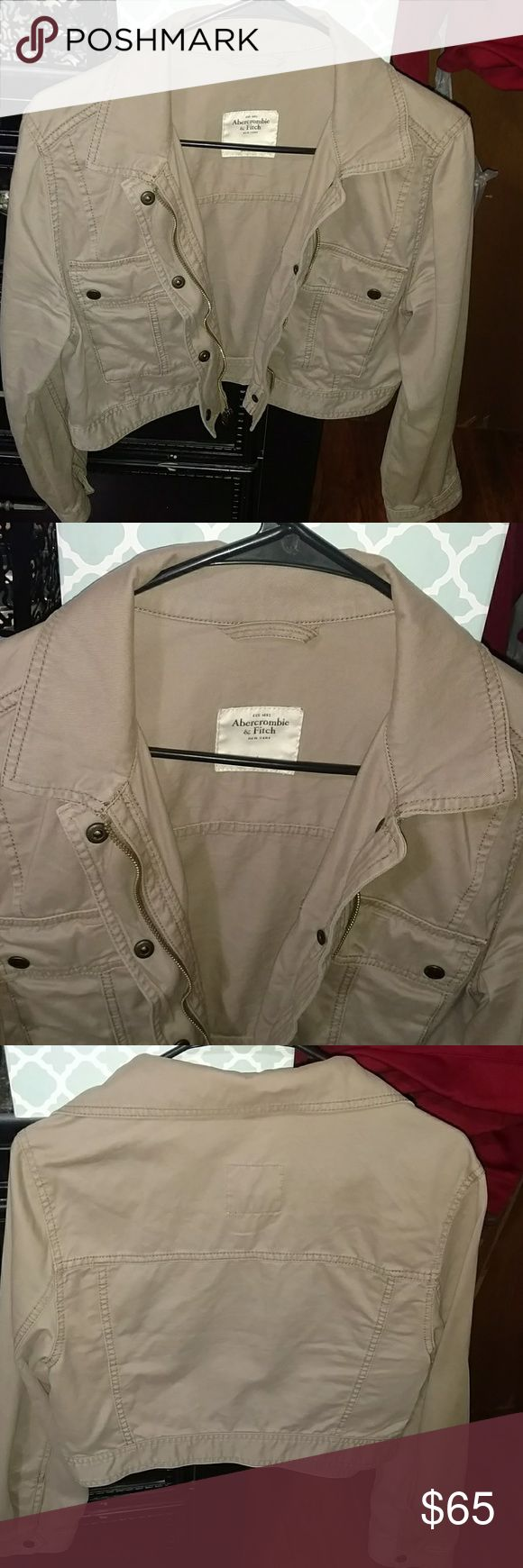 Abercrombie and Fitch Khaki Cropped Jean Jacket Like new. Easy to add to any outfit and very lightweight. Abercrombie & Fitch Jackets & Coats Jean Jackets