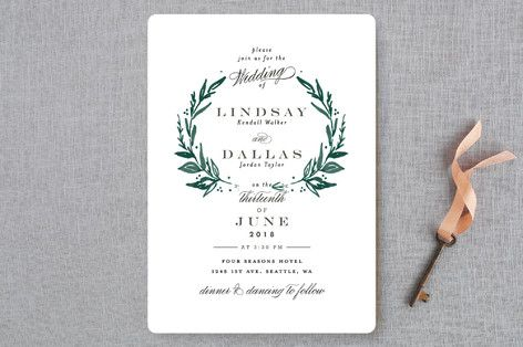 """""""Elegant Crest"""" - Rustic, Modern Wedding Invitations in Forest Green by Alethea and Ruth."""