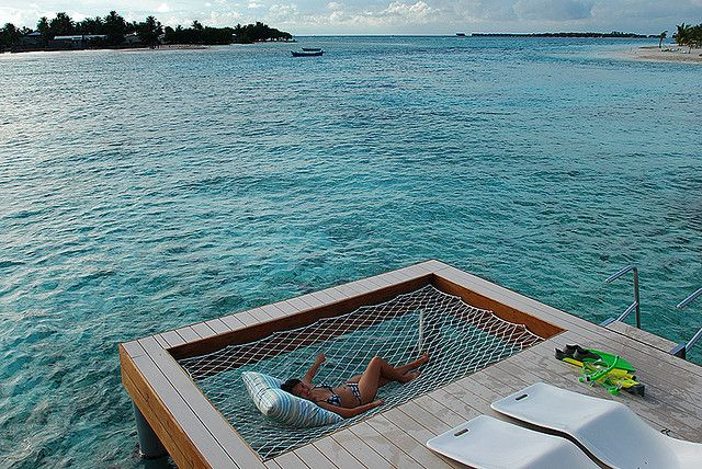 A water hammock next to the dock! So much easier than tying yourself (on your raft) to the pier!
