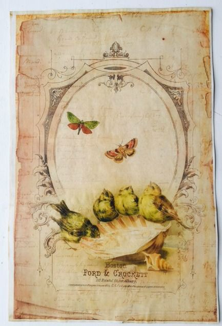 """4 Lime Birds Vintage Aged Papers 11"""" x 17"""""""