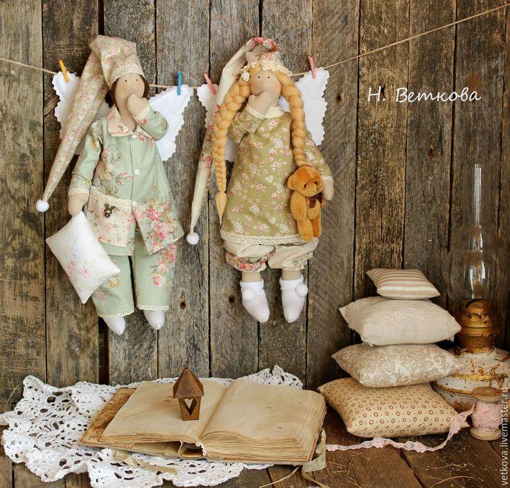 Купить Ангелы добрых снов в стиле тильда сплюшки - оливковый, сон, подарок, сплюшка, тильды