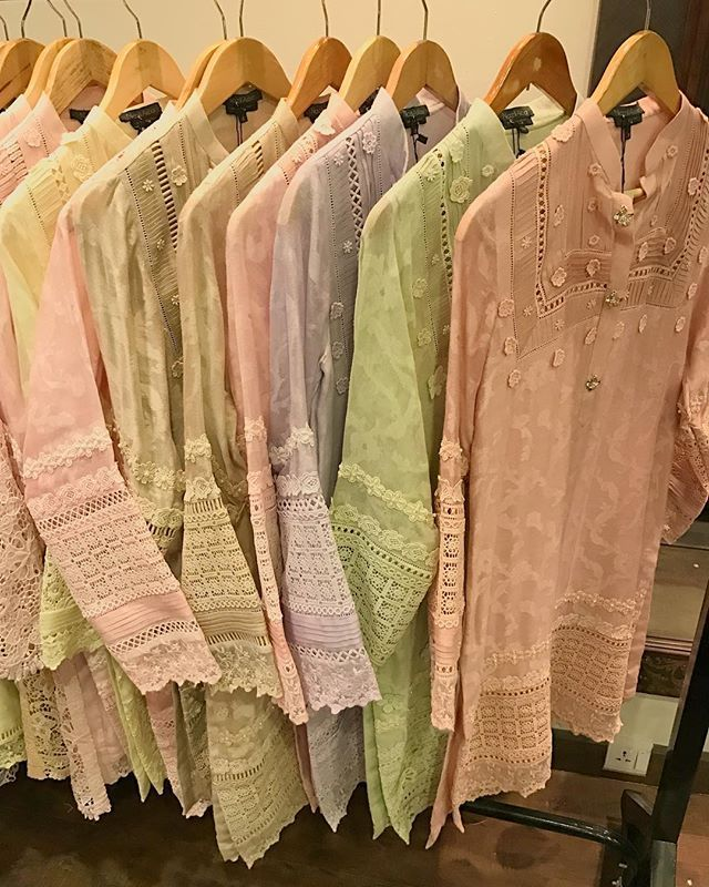 Lovely pastels available at the boutique in our C239. Get your Eid outfit from our post Exhibition production that came in to the boutique today! Walk-ins welcome Mondays to Saturdays from 2 PM - 5 PM. #SugarRushbyNazliAkbar #NazliAkbar #readytowear #Karachi #Pakistan