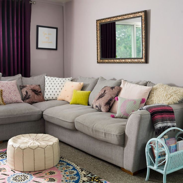 Lilac Living Room With Grey Corner Sofa