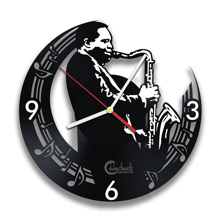 Handmade Solutions Music Art Saxophone Player Vinyl Record Wall Clock Home Interior Living Room Bedroom Office Recording Studio Decor Gift for Him Musicians Father Friend ** Find out more about the great product at the image link. (This is an affiliate link and I receive a commission for the sales)