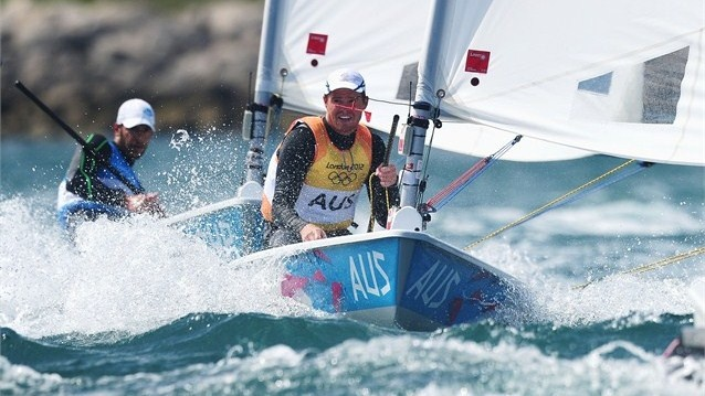Tom Slingsby of Australia competes on his way to winning gold in the Men's Laser Sailing on Day 10 of the London 2012 Olympic Games at Weymouth & Portland.
