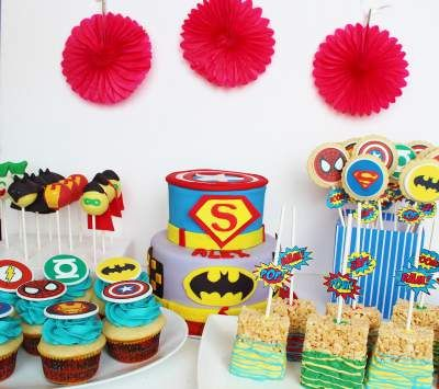 Superhero Dessert Table <3 See More Cute Dessert Table Ideas at www.CarlasCakesOnline.com