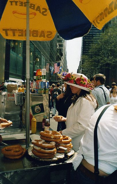 new york city street food, soft pretzels with mustard. I get one Everytime!