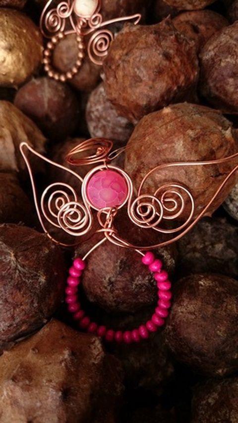 Hajlított réz angyal, rózsaszín , Dekoráció, Ünnepi dekoráció, Meska