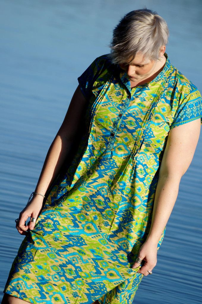 Anne Shirt Dress - Turquoise and lime
