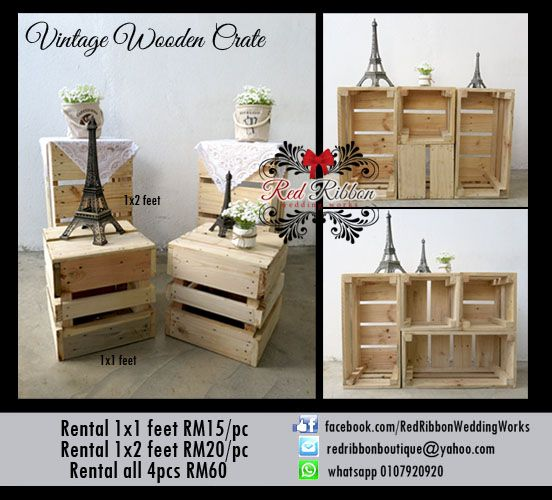 Wooden Crate FOR RENT It perfects your DIY rustic wedding deco! Enquire from us!