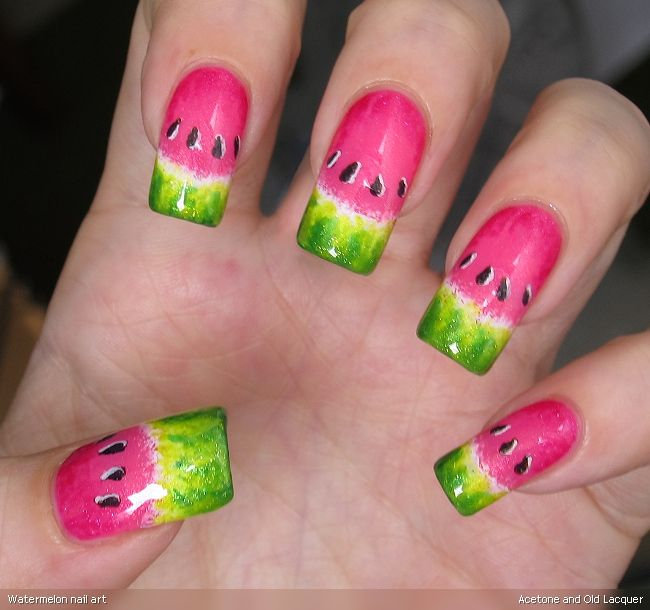 Acetone and Old Lacquer: Watermelon nail art