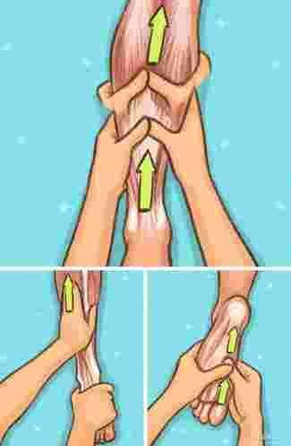 dessin qui montre comment bien masser les jambes et les pieds