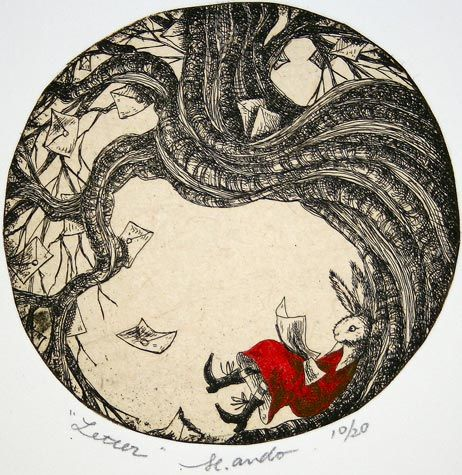 Mariko Ando. Letter. Etching with chine colle and hand coloring, 2012. Edition 20. 4 in  diameter. $170