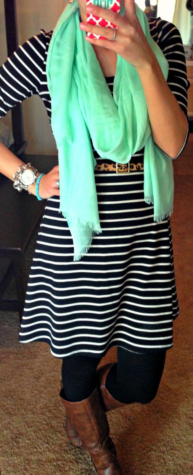 all things katie marie: love the mix of stripes and leopard with the mint scarf