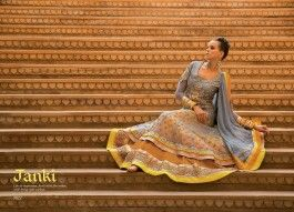 Grey and Yellow Doubled Layer Suit , eid sale, indian dress, designer dress, ethnic fashion, anarkali designs for 2014, desi fashion