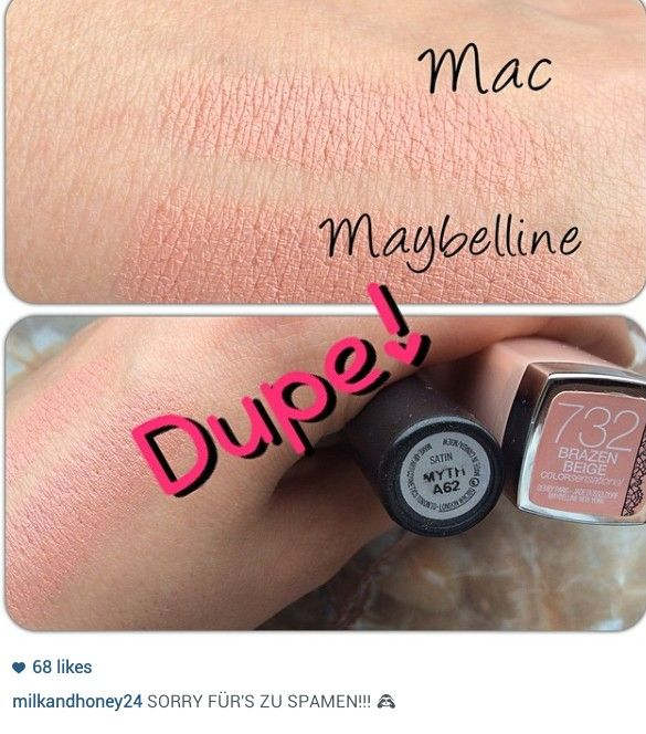 Maybelline brazen beige lip dupe Mac myth