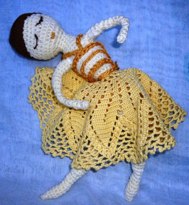 Drótvázas balerina, horgolt