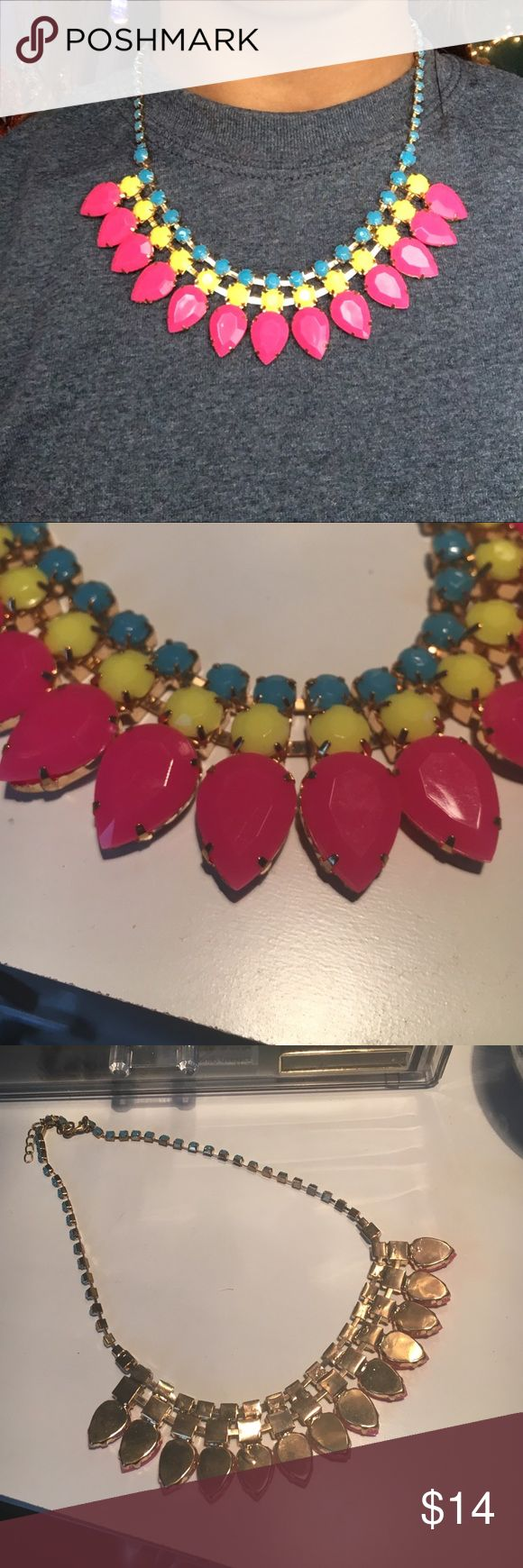 Neon statement necklace Neon pink, yellow, and blue. Very vibrant and makes a statement! Great condition. Forever 21 Jewelry Necklaces