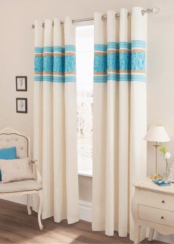 Teal Blue Amp Cream Faux Silk Lined Curtains With Eyelet