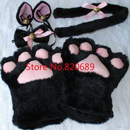 1 компл. кошачьи уши плюшевые лапа коготь перчатки хвост лентой аниме косплей костюмы 5 цветов купить на AliExpress