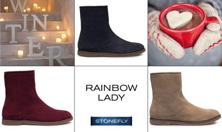 In questi, che sono i giorni più freddi dell'anno, meglio indossare qualcosa di caldo e comodo, come gli #stivaletti Rainbow Lady, realizzati in morbido #camoscio in tanti colori diversi. #boots #stivali #Stonefly >> http://www.stonefly.it/it/2/collezione/donna/321/103505-650-rainbow-lady-2.html