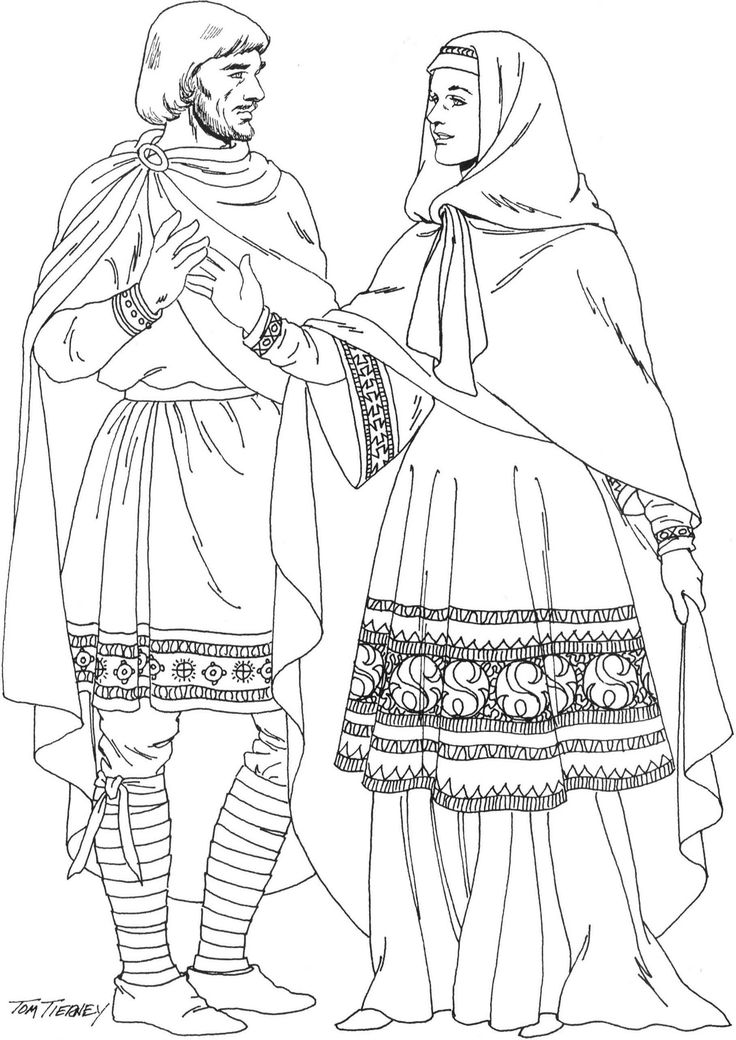 Left: Anglo-Saxon nobleman is wearing an embroidered tunic/ bliaud over a chemise with embroidered sherte (the word shirt comes from it), a chemise type garment with sleeves, mantle, cross-gartered breeches.  Right: noblewoman wears embroidered bliaud over chemise with cuffs. she wears mantle and headrail. fitted waist by lacings down the back.  (11th C)