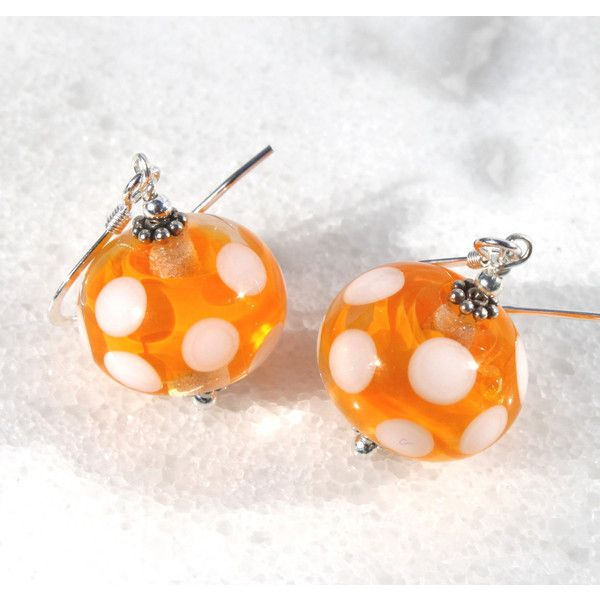 Polka Dots, Yellow Earrings, Easter, Lampwork Glass, Sterling Silver,... (€18) ❤ liked on Polyvore featuring jewelry, earrings, pendant earrings, glass bead pendants, sterling silver earrings, polka dot earrings and sterling silver bead earrings