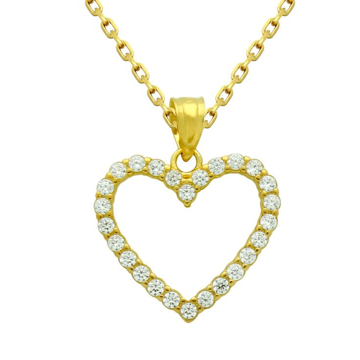 Heart necklace. Sterling silver outline heart necklace. Gold heart necklace. Cz heart necklace. Diamond heart necklace. Silver jewelry. by Jadorelli on Etsy