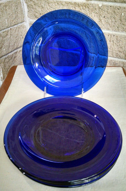 Cobalt Blue Plates - Set of 5 -  8 inch Plates - Vintage Dinnerware - by ClassyVintageGlass on Etsy