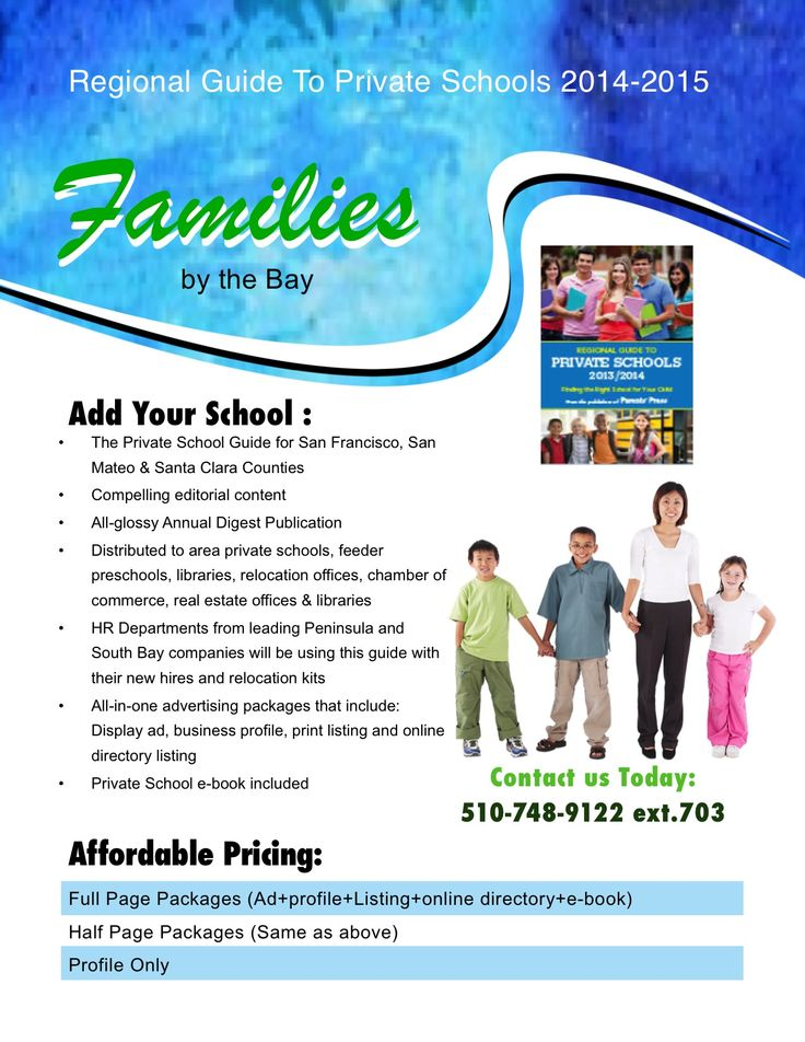 Don't miss this opportunity to get in the Best Private School Directory in  the Bay Area. If families are looking for a school- they will look in this  ...